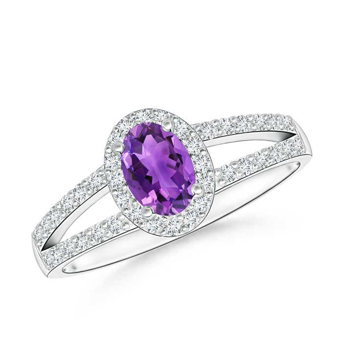 Angara Oval Amethyst and Diamond Halo Engagement Ring Rose Gold UYJMA1