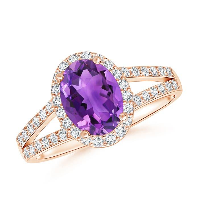 Split Shank Vintage Amethyst Ring with Diamond Halo - Angara.com