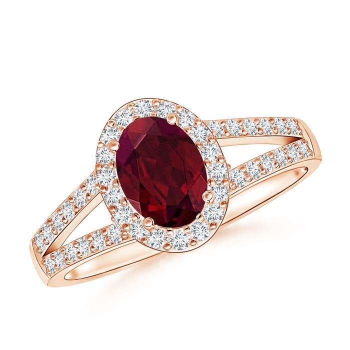 Angara Natural Garnet Gemstone Engagement Rings in Yellow Gold 37R2YaE