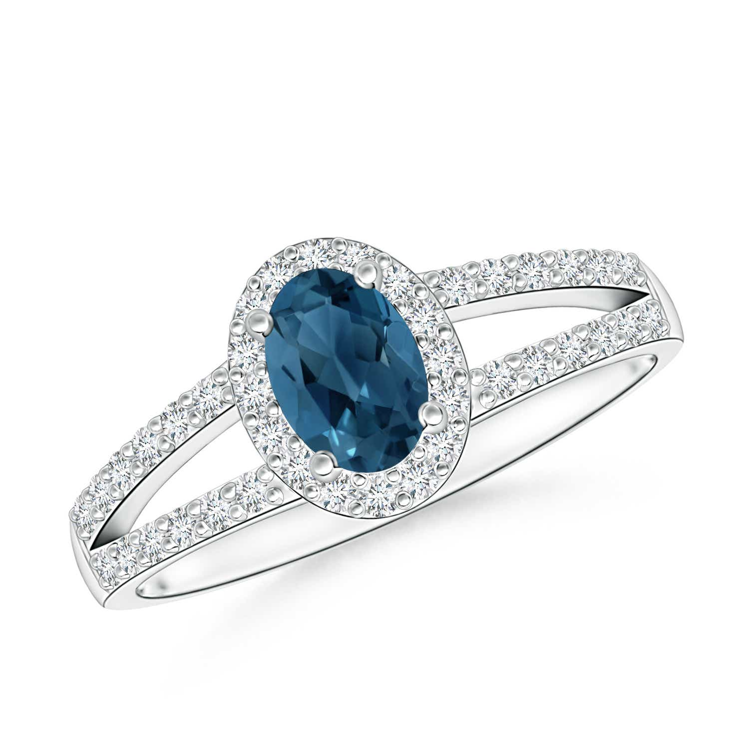 Angara Natural London Blue Topaz Engagement Ring in Platinum 4LFpBc
