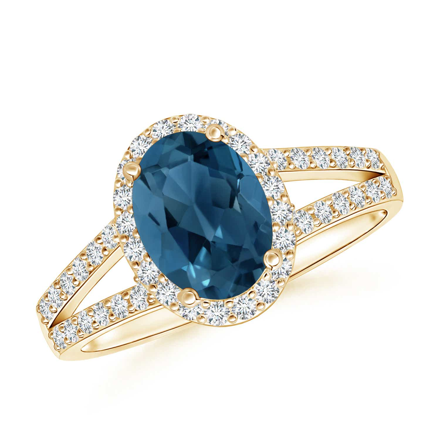 Angara Marquise Cut Swiss Blue Topaz and Diamond Ring in Yellow Gold