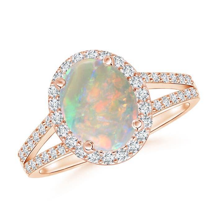 Split Shank Vintage Opal Ring with Diamond Halo - Angara.com