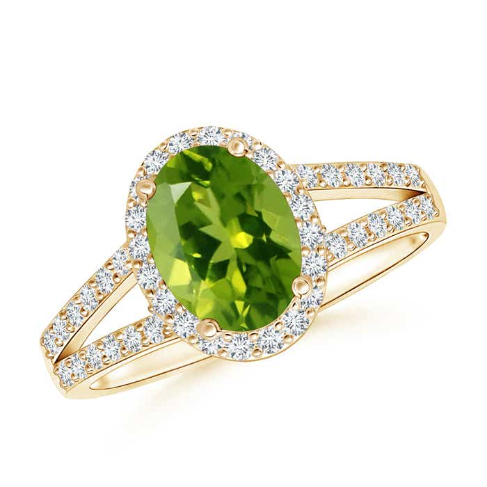 Split Shank Vintage Peridot Ring with Diamond Halo - Angara.com