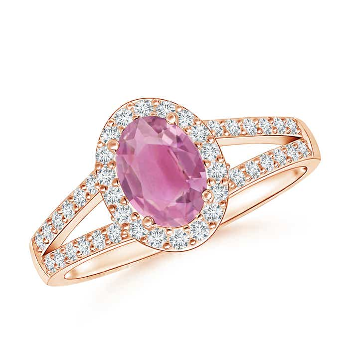 Angara Vintage Inspired Oval Pink Tourmaline Halo Ring in 14K Yellow Gold 3F2eGzdq8