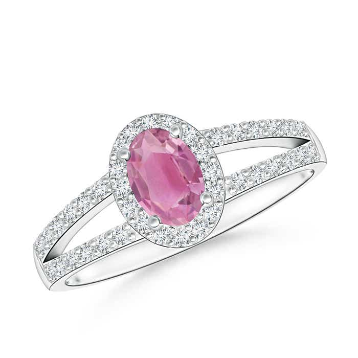 Angara Vintage Style Pink Tourmaline Engagement Ring in White Gold jnvYnV
