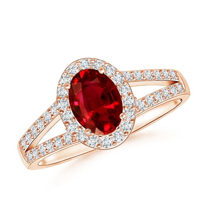 Split Shank Vintage Ruby Ring with Diamond Halo - Angara.com