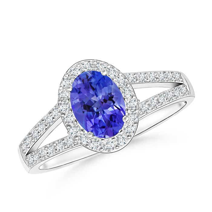 Angara Vintage Inspired Oval Tanzanite Halo Ring in 14K Yellow Gold