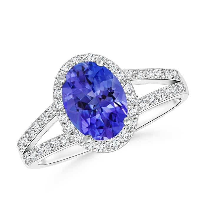 Angara Vintage Inspired Tanzanite Halo Ring With Diamonds in 14k White Gold Nn2YA