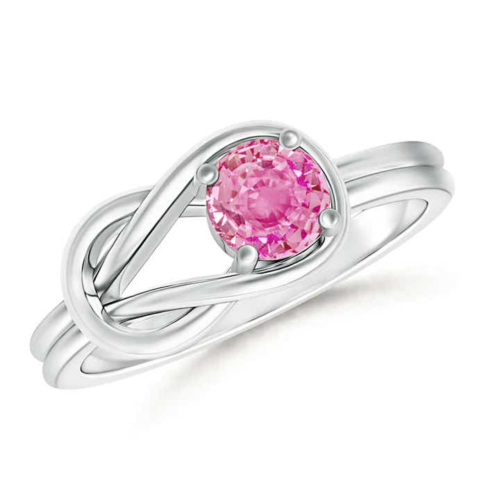 Natural Solitaire Pink Sapphire Infinity Knot Ring - Angara.com