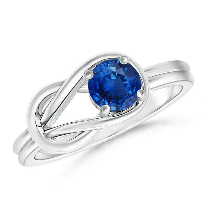 Natural Solitaire Blue Sapphire Infinity Knot Ring - Angara.com