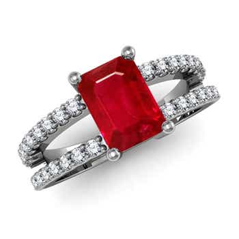 Emerald-Cut Ruby Solitaire Double Shank Ring - Angara.com