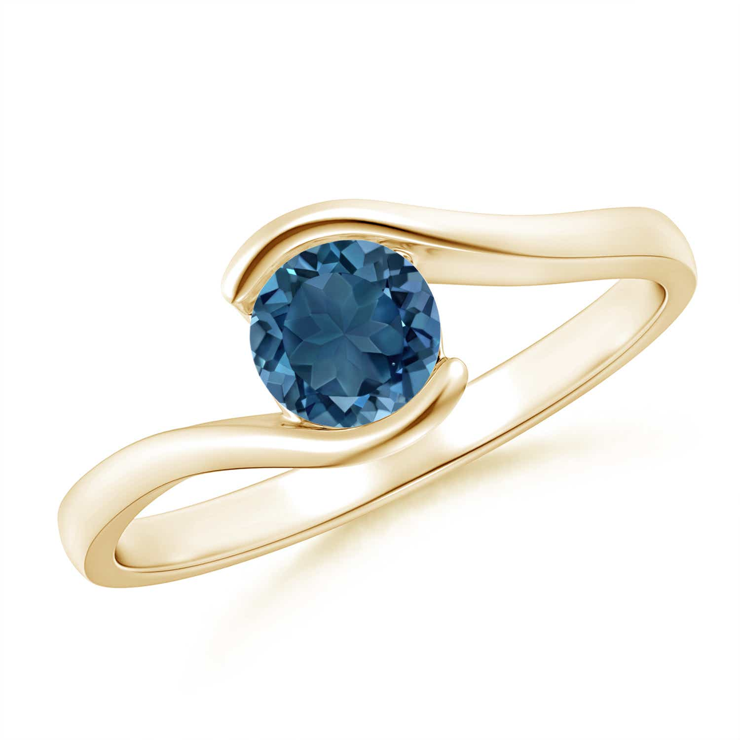 Angara London Blue Topaz Ring in Yellow Gold