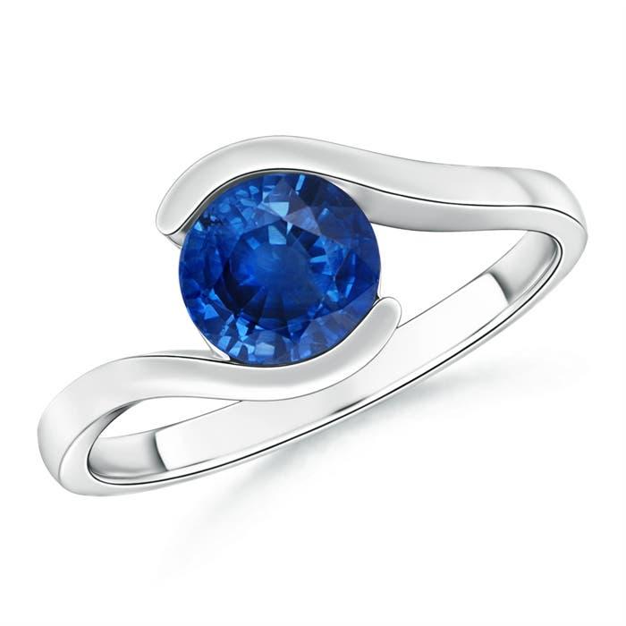 Half Bezel Solitaire Round Blue Sapphire Bypass Ring