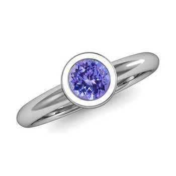 Bezel Set Round Tanzanite Solitaire Ring - Angara.com