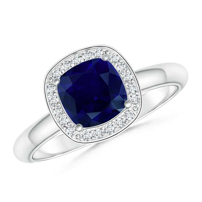 Diamond Halo Cushion-Cut Blue Sapphire Ring - Angara.com