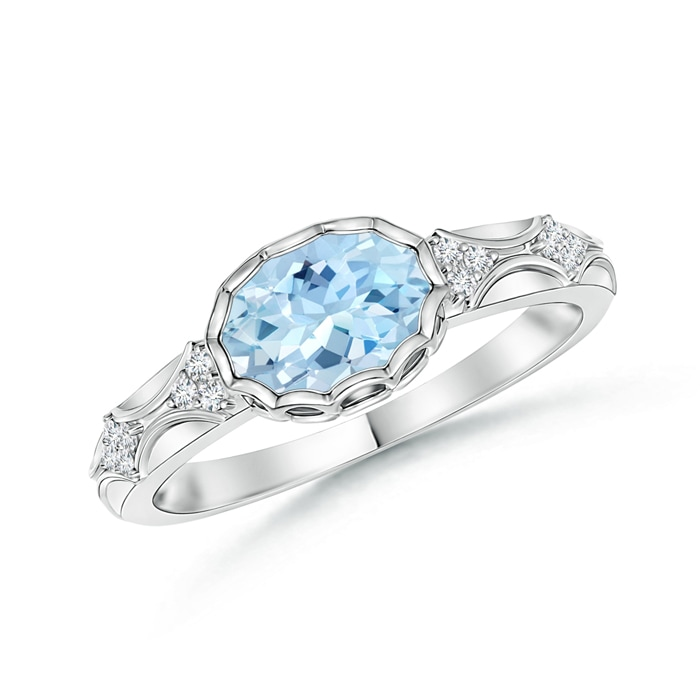 Oval Aquamarine Vintage Ring with Diamond Accents - Angara.com