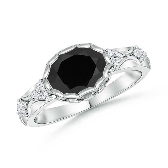 Oval Black Onyx Vintage Ring with Diamond Accents - Angara.com