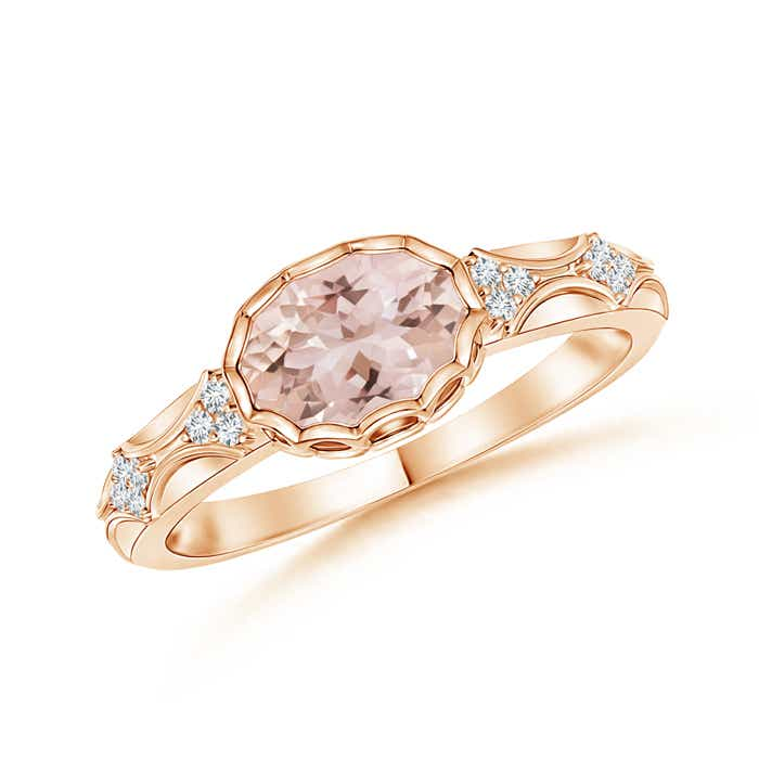 Oval Morganite Vintage Ring with Diamond Accents - Angara.com