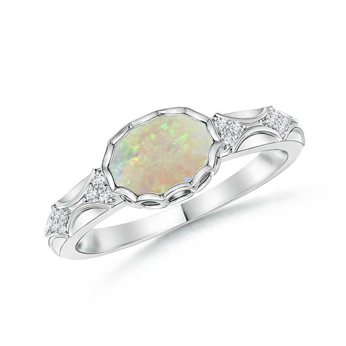 Angara Bezel-Set Opal Engagement Ring with Diamond Accents in Yellow Gold