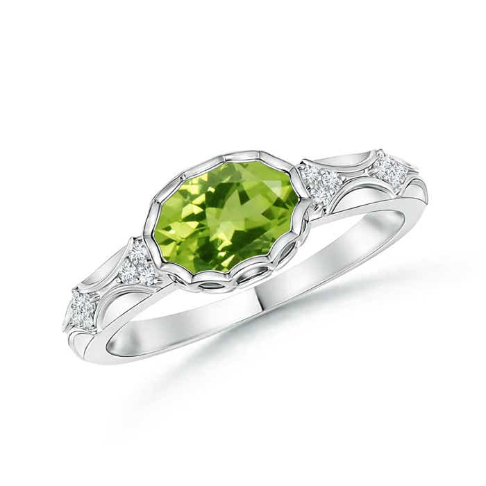 Oval Peridot Vintage Ring with Diamond Accents - Angara.com