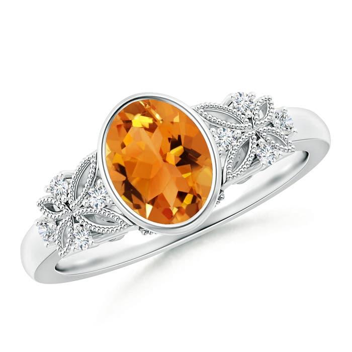 Bezel Set Vintage Oval Citrine Ring with Diamond Accents - Angara.com