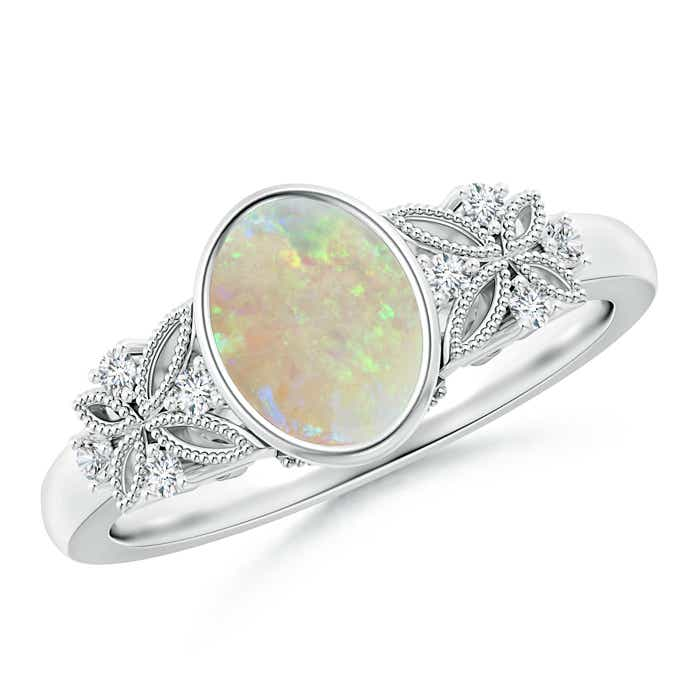 Bezel Set Vintage Oval Opal Ring with Diamond Accents - Angara.com
