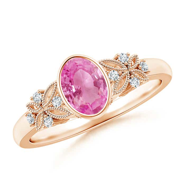 Angara Three Stone Pink Sapphire Diamond Engagement Ring in White Gold 27E8RbBQ