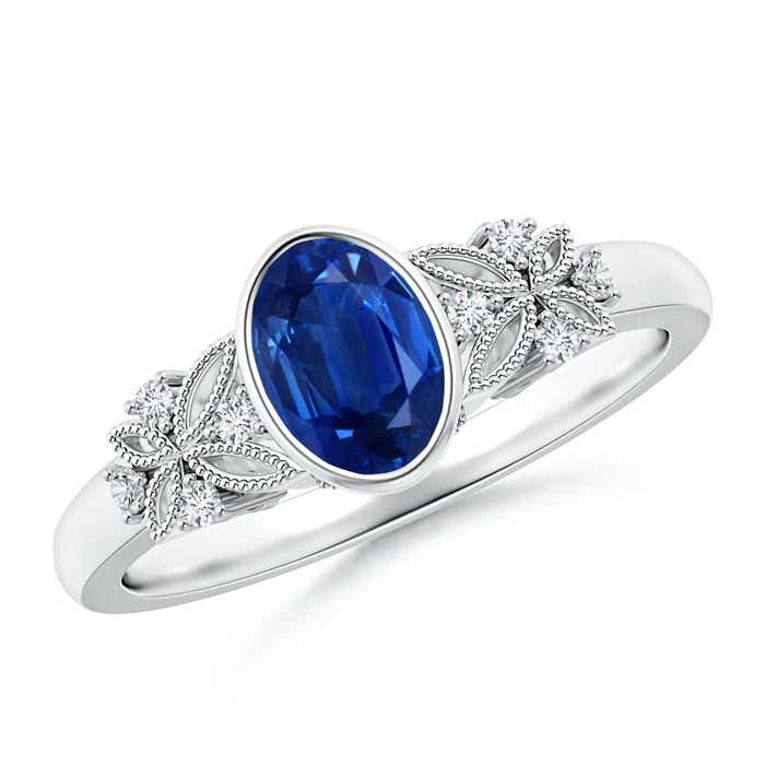 Bezel Set Vintage Oval Sapphire Ring with Diamond Accents ...