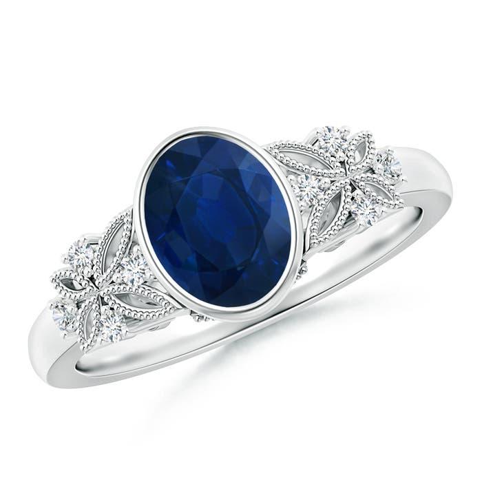 Bezel Set Vintage Oval Sapphire Ring with Diamond Accents - Angara.com