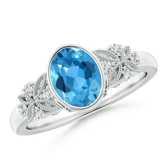 Bezel Set Vintage Oval Swiss Blue Topaz Ring with Diamonds - Angara.com