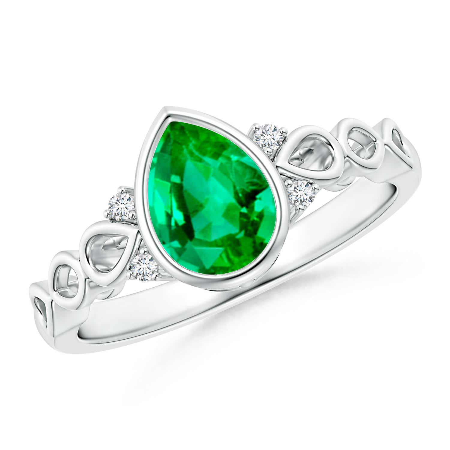 Bezel Set Vintage Pear Emerald Ring with Diamond Accents - Angara.com
