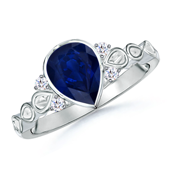 Bezel Set Vintage Pear Sapphire Ring with Diamond Accents - Angara.com