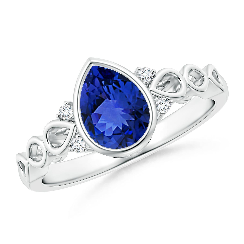 Angara Bezel-Set Oval Tanzanite Ring with Diamond Halo ny76oGJK