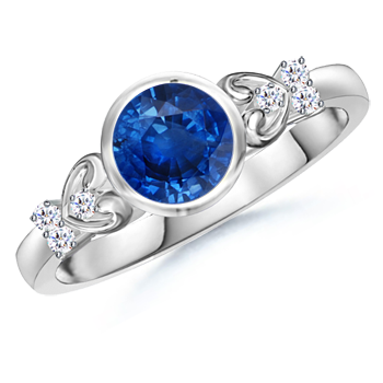 Bezel Set Round Blue Sapphire Solitaire Ring with Diamond Accents - Angara.com