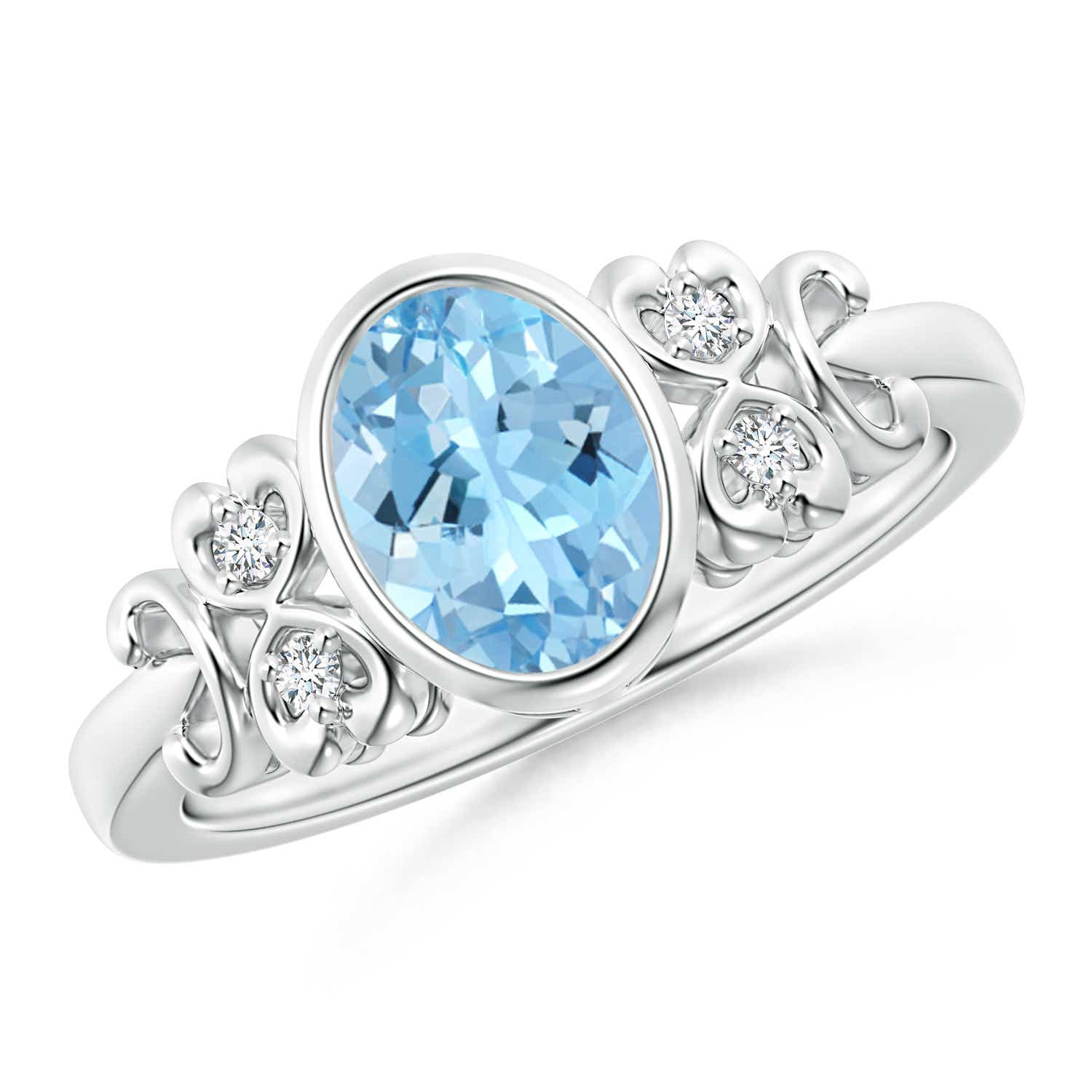 Angara Oval Aquamarine Ring with Diamond Wedding Band Set in White Gold KnA63