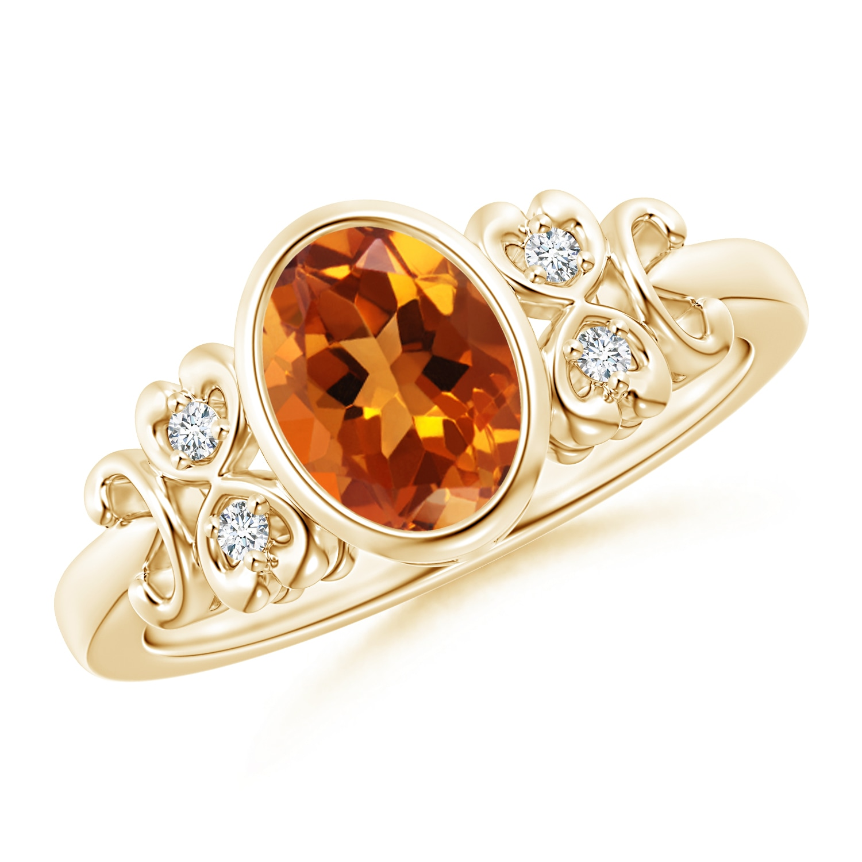 Vintage Oval Citrine Bezel Ring with Diamond Accents - Angara.com