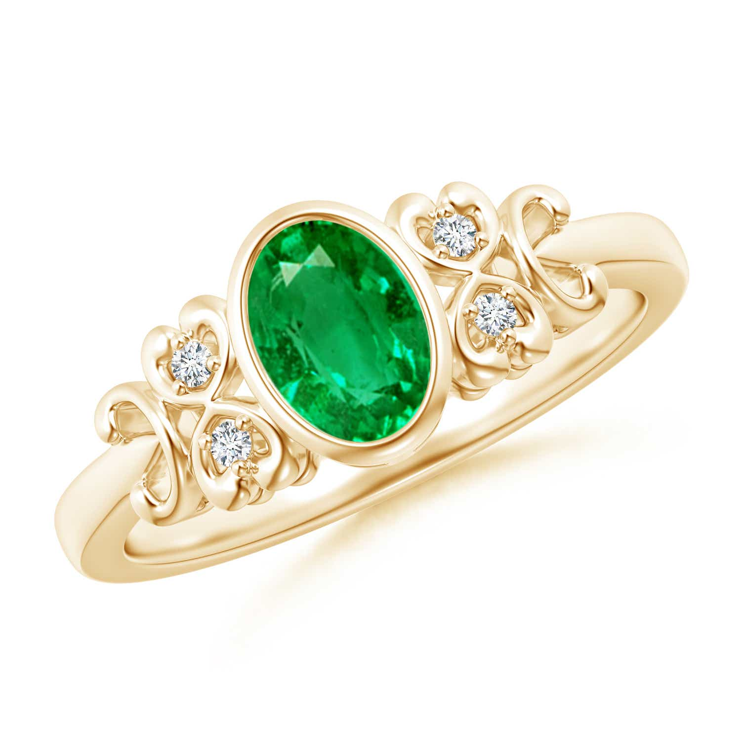 Vintage Oval Emerald Bezel Ring with Diamond Accents - Angara.com