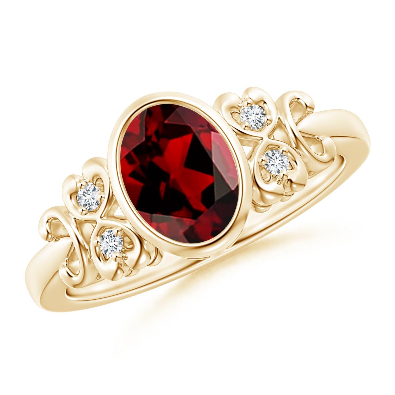 Angara Natural Garnet Ring in Rose Gold KtCuGEx