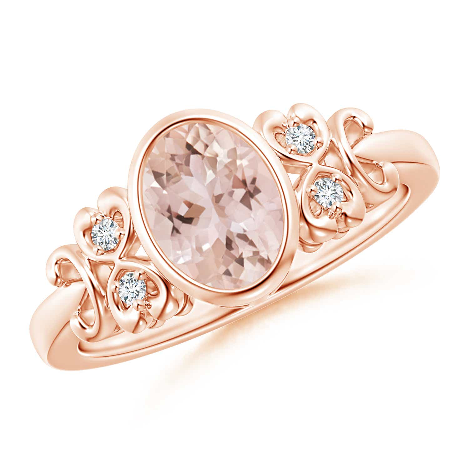 Vintage Oval Morganite Bezel Ring with Diamond Accents - Angara.com