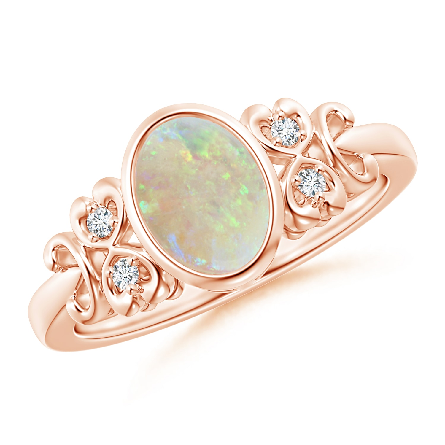 Vintage Oval Opal Bezel Ring with Diamond Accents - Angara.com