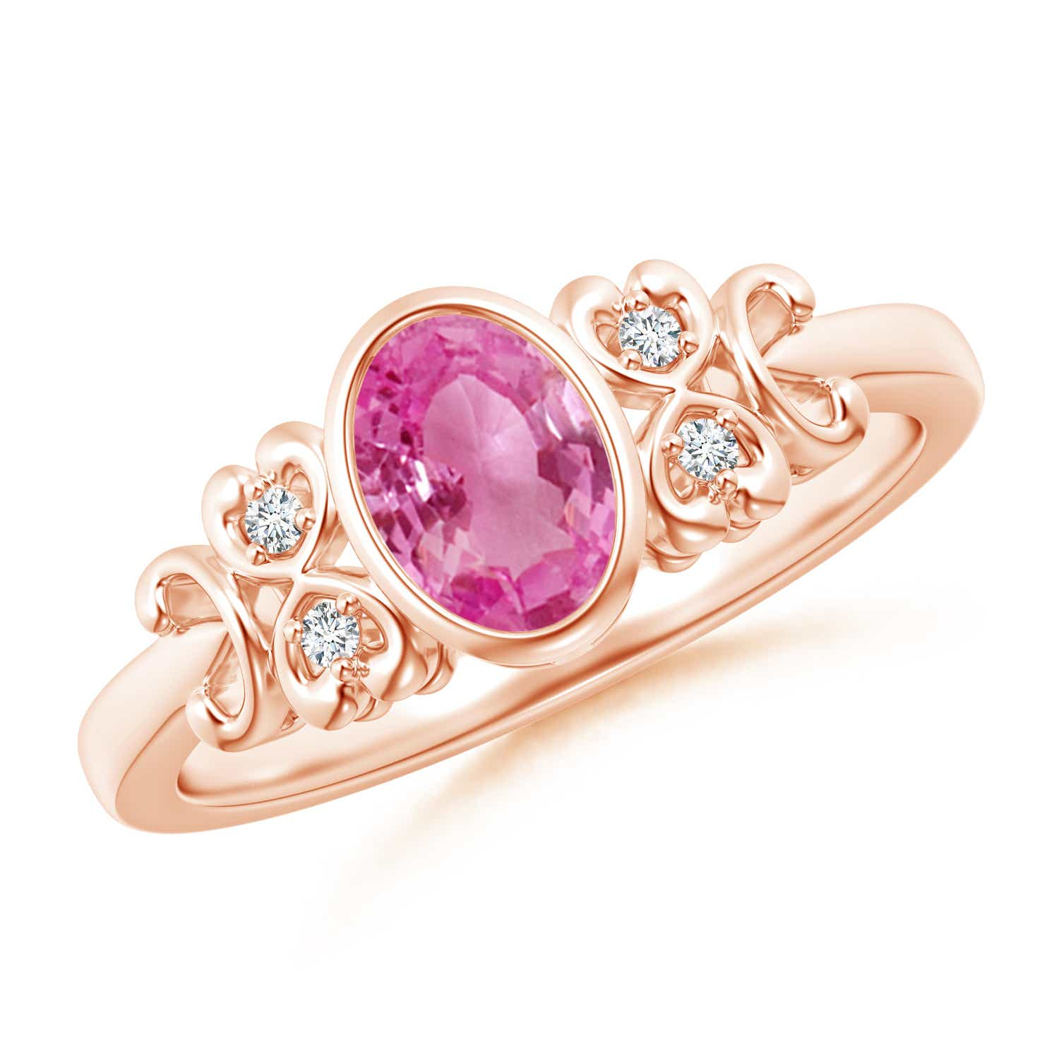 Vintage Style Bezel-Set Oval Pink Sapphire Ring with Diamonds | Angara