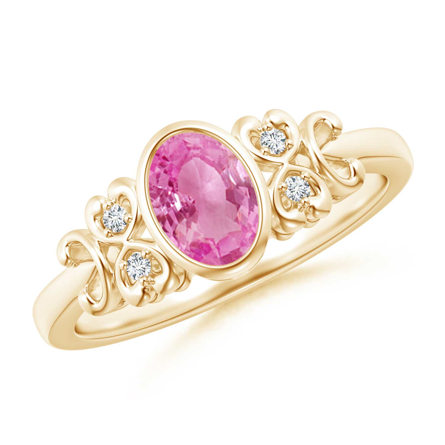 Vintage Style Natural Pink Sapphire Diamond Ring in 14k Gold ...