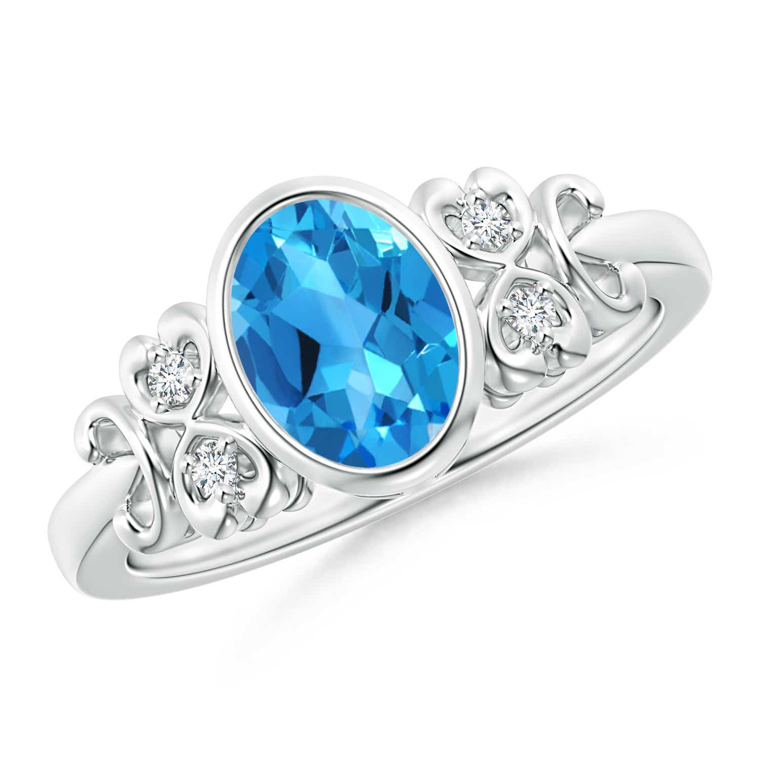 Vintage Oval Swiss Blue Topaz Bezel Solitaire Ring with Diamonds - Angara.com