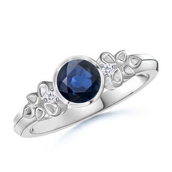 Vintage Round Blue Sapphire Bezel Ring with Diamond Accents - Angara.com