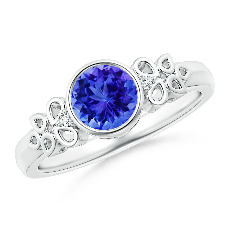 Angara Vintage Oval Tanzanite Bezel Ring with Diamond in White Gold eqUMdc