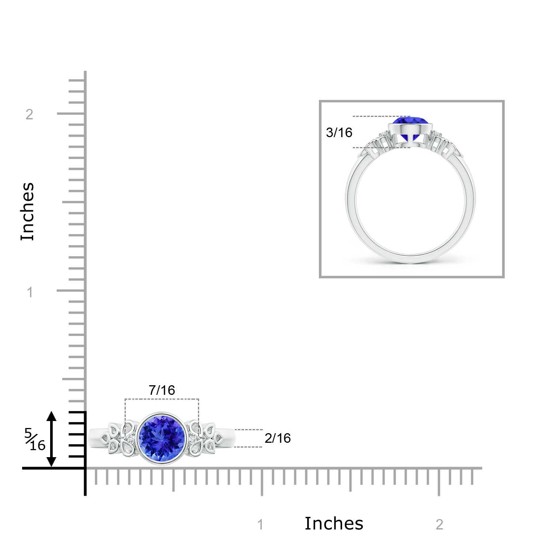 Vintage Round Tanzanite Bezel Ring with Diamond Accents - Angara.com