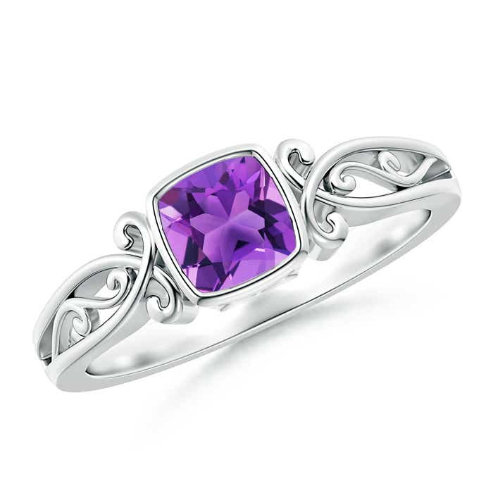 Bezel Set Cushion-Cut Amethyst Vintage Solitaire Ring - Angara.com