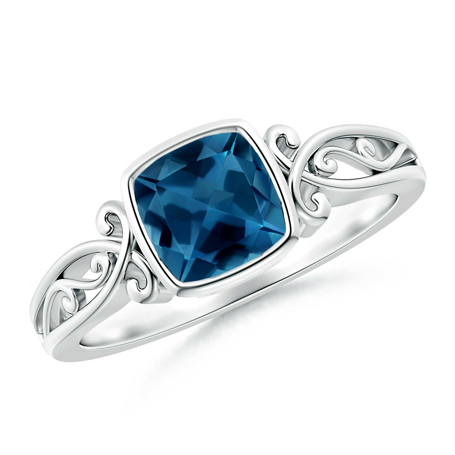 Vintage Style Cushion London Blue Topaz Solitaire Ring - Angara.com