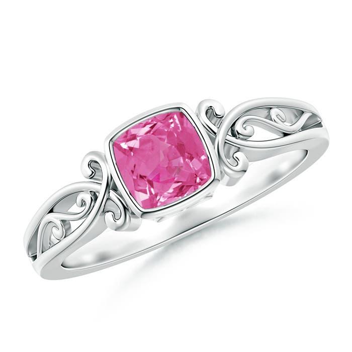 Bezel Set Cushion-Cut Pink Sapphire Vintage Solitaire Ring - Angara.com