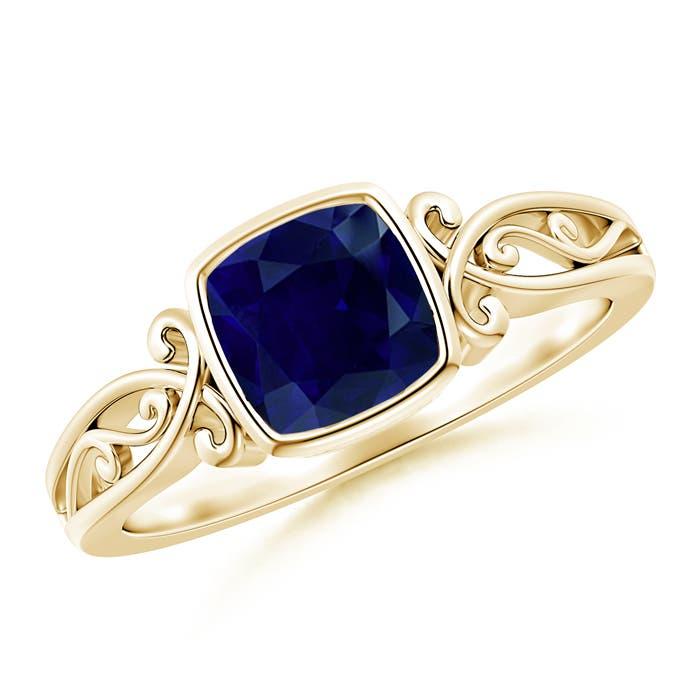 Bezel Set Cushion-Cut Sapphire Vintage Solitaire Ring | Angara
